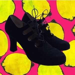 Vintage Anne Klein Black Suede Lace-up Heels